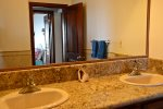 Guest bathroom double vanity